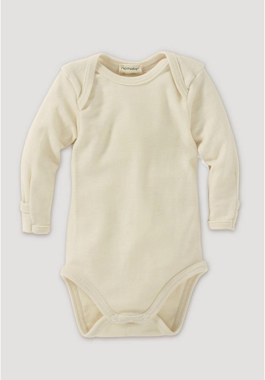 Long-sleeved body made of organic merino wool with silk
