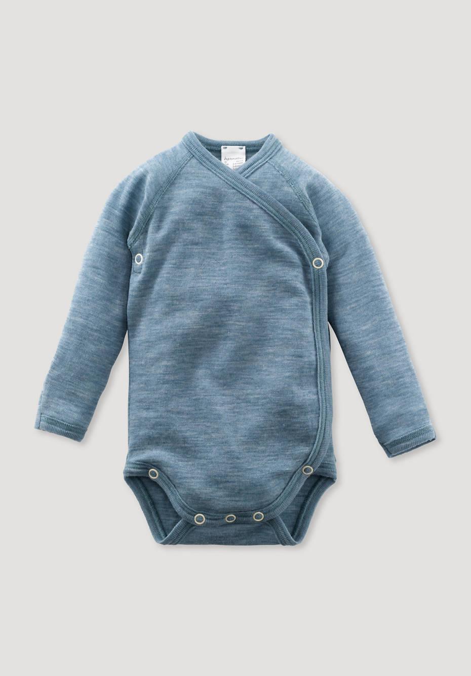 Long-sleeved body made of pure organic merino wool