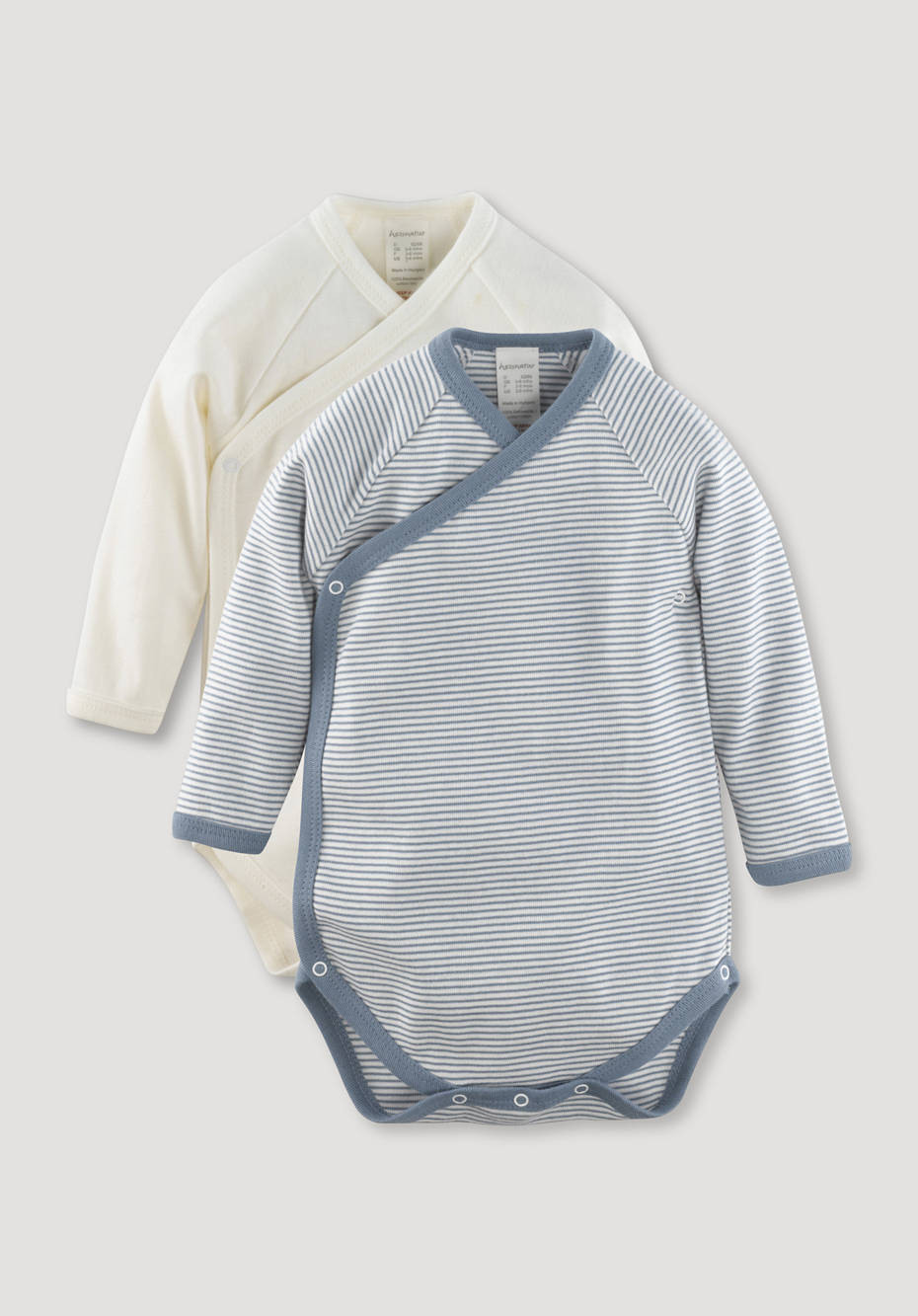 Long-sleeved wrap body set of 2 made of pure organic cotton