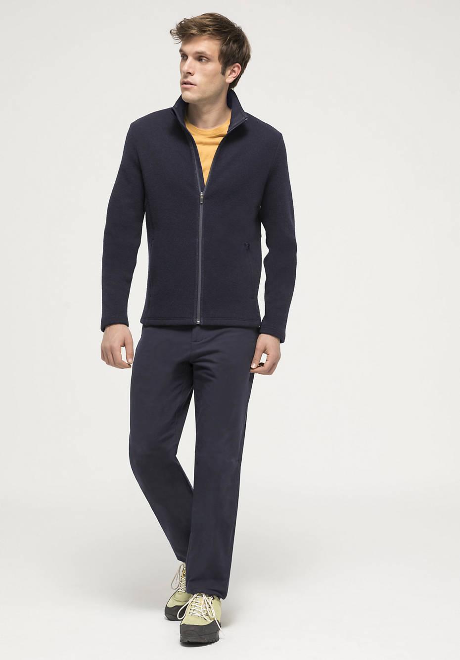 Mesh fleece jacket made of organic merino wool with organic cotton