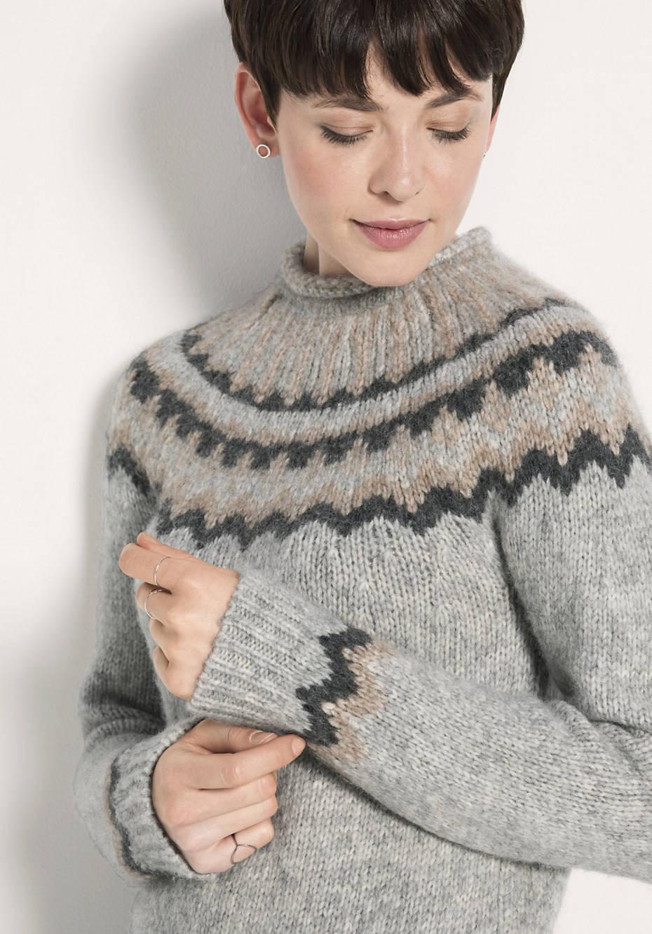Norweger-Pullover aus Alpaka mit Baumwolle und Schurwolle