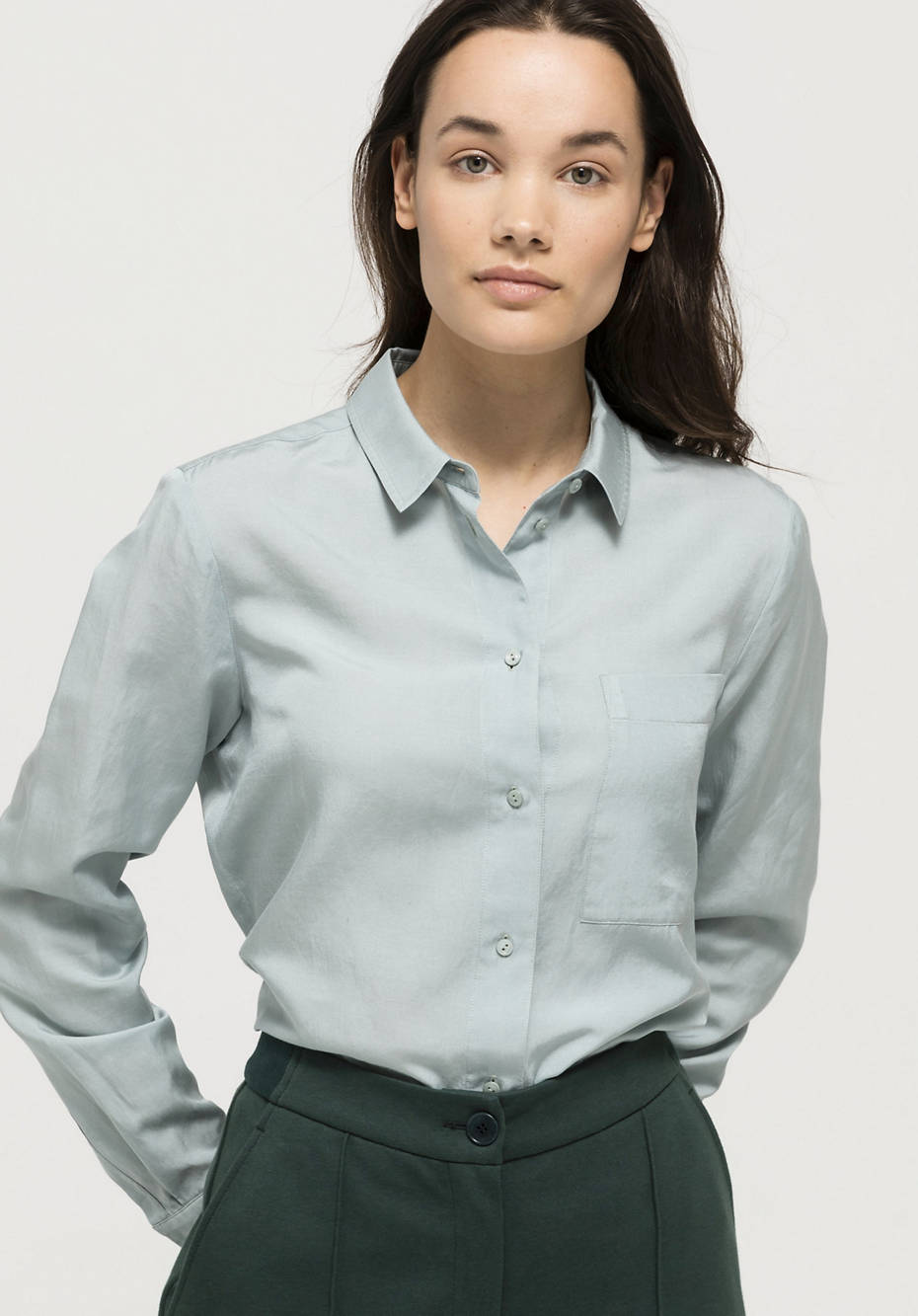 Organic cotton blouse with silk