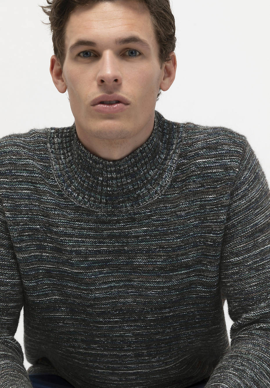 Organic cotton sweater with alpaca and new wool