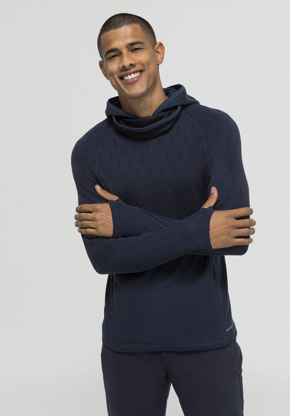 Performance hoodie made of pure organic merino wool
