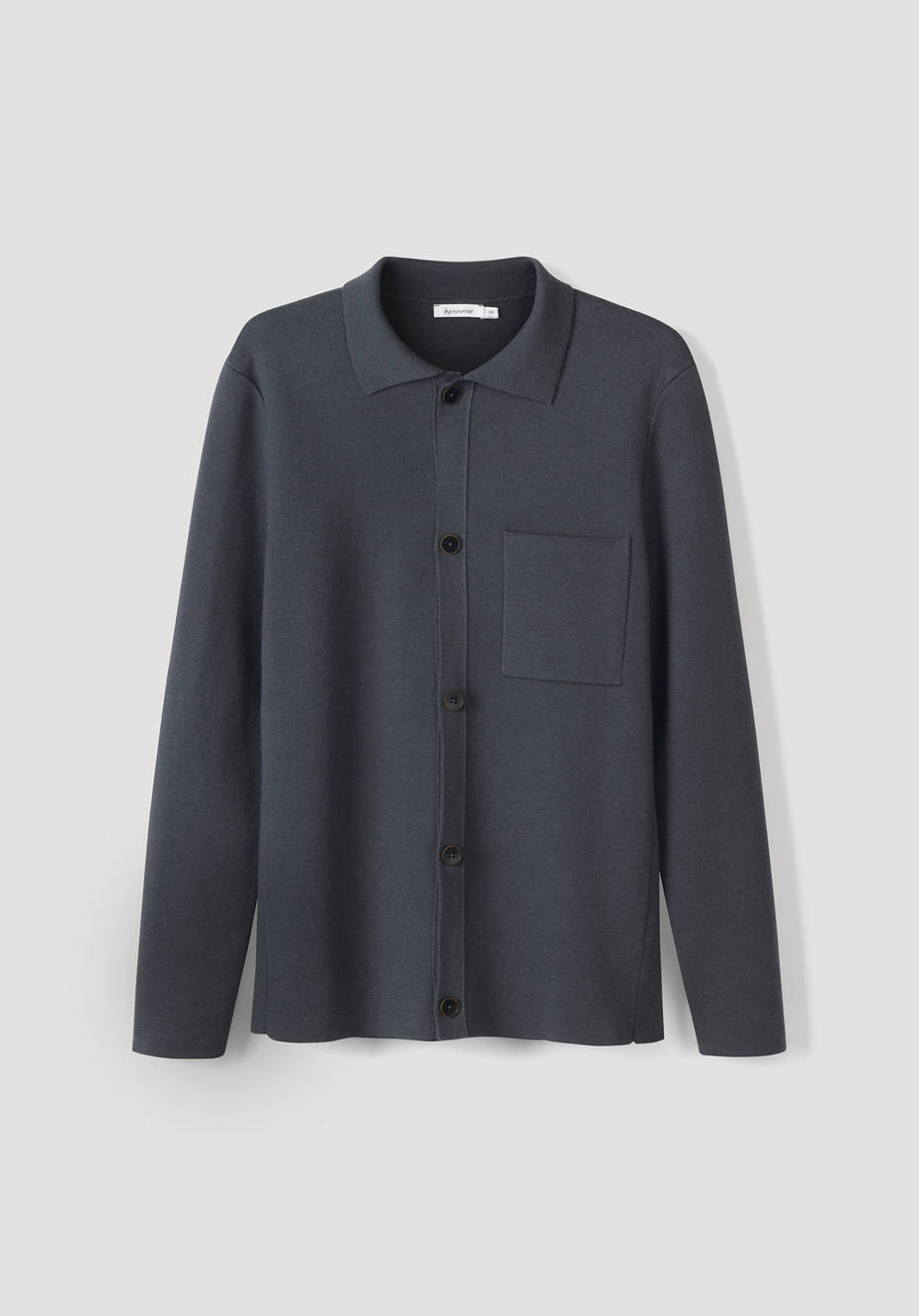 Polo cardigan made of organic cotton and organic new wool