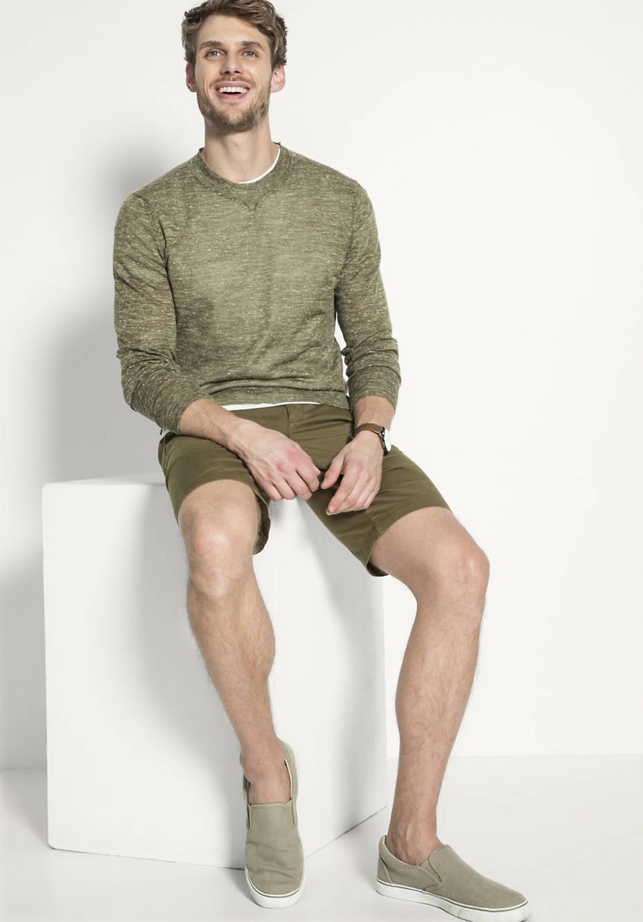 Pullover aus Alpaka mit Leinen