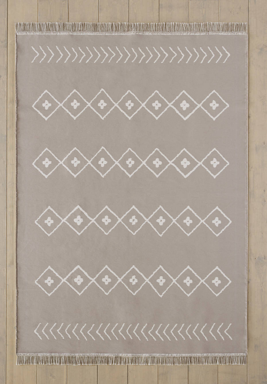 Rauten-Teppich aus reiner Bio-Baumwolle