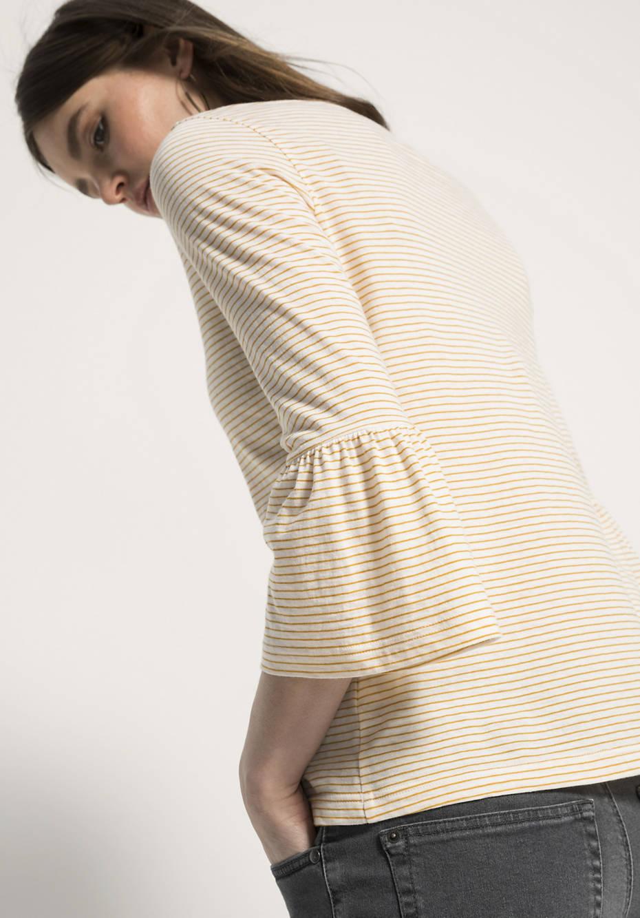 Ringelshirt aus Bio-Baumwolle mit Schurwolle