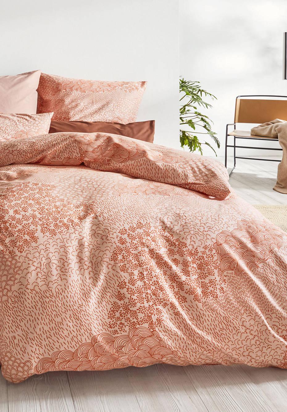 Satin-Bettwäsche Jasugono aus reiner Bio-Baumwolle