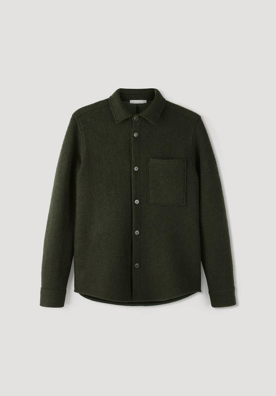 Shirt jacket made of virgin wool with organic cotton