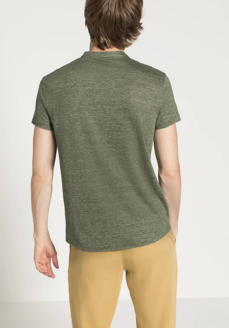 Shirt mit Stehkragen aus reinem Leinen