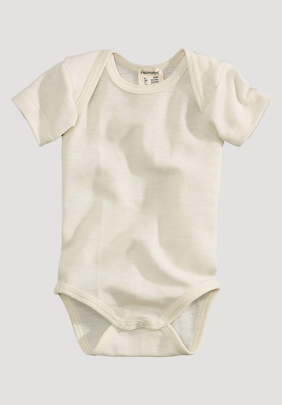 Short-sleeved body made of organic merino wool with silk