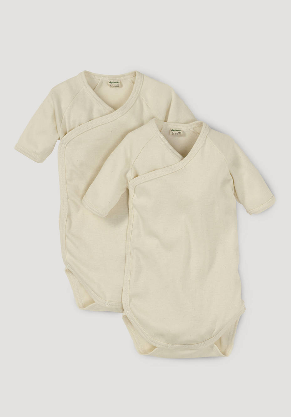 Short-sleeved wrap body made of pure organic cotton, set of 2