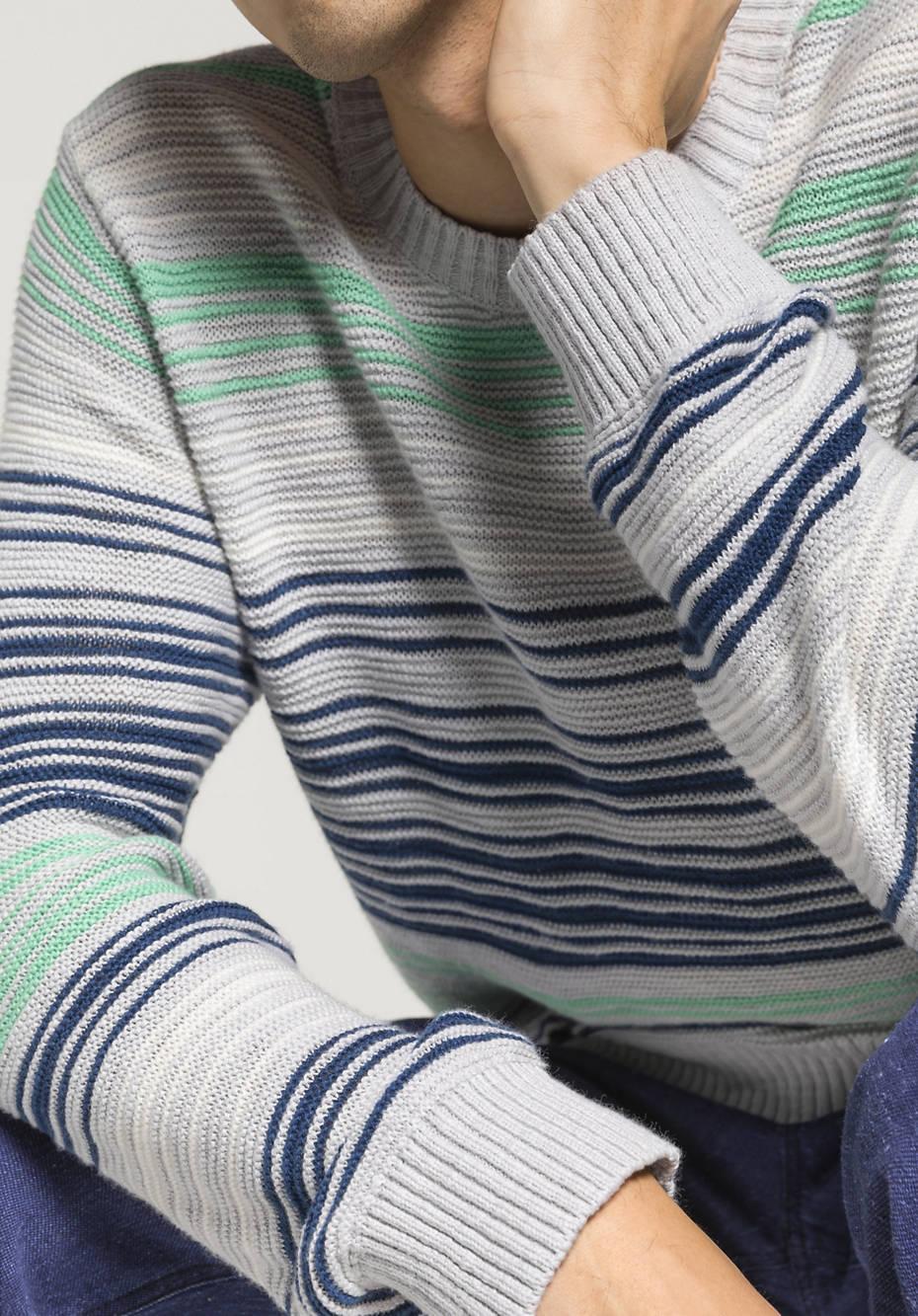 Streifen-Pullover aus Bio-Baumwolle mit Schurwoll-Leinen-Mix