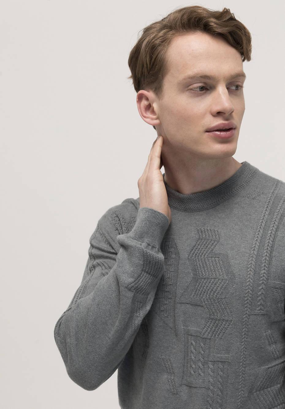 Struktur-Pullover mineralgefärbt aus Bio-Baumwolle mit Kaschmir