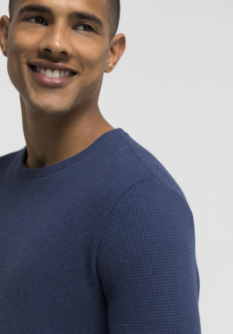 Struktur-Shirt aus Bio-Baumwolle mit Schurwolle