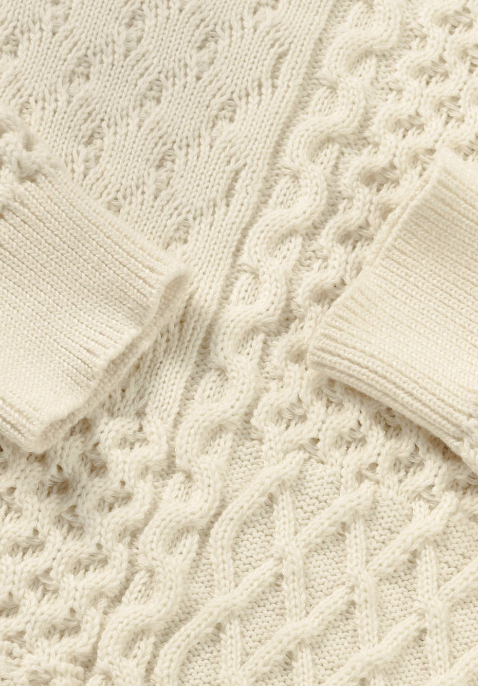 Strukturstrick-Pullover aus Bio-Baumwolle und Bio-Merinowolle