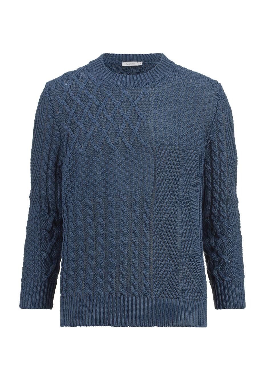 Strukturstrick-Pullover aus reinem Leinen