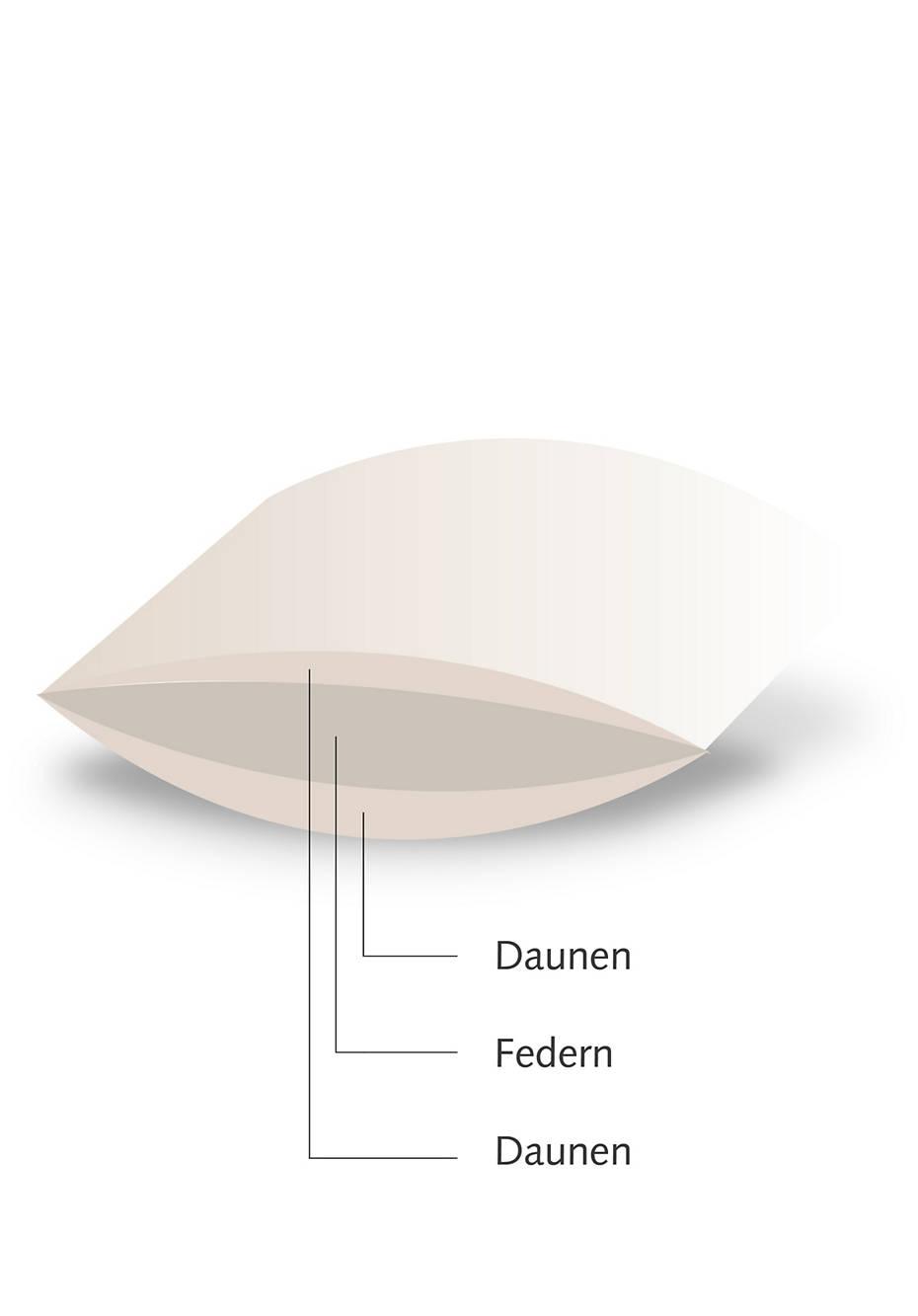 Stützkissen 3-Kammern mit Daunen und Federn