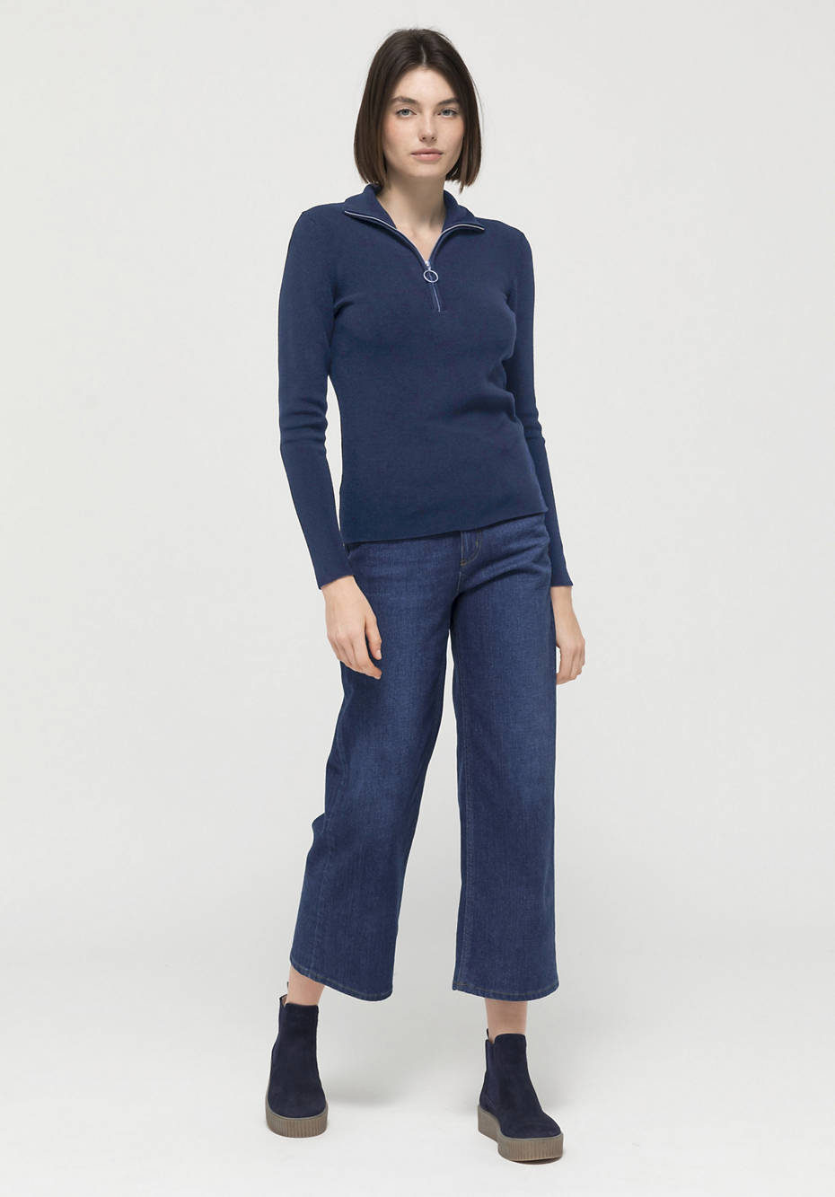 Sweater made of organic cotton and organic new wool