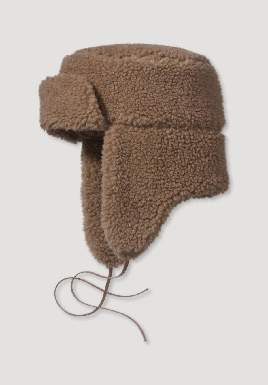 Teddy-Mütze aus Schurwolle mit Kamelhaar