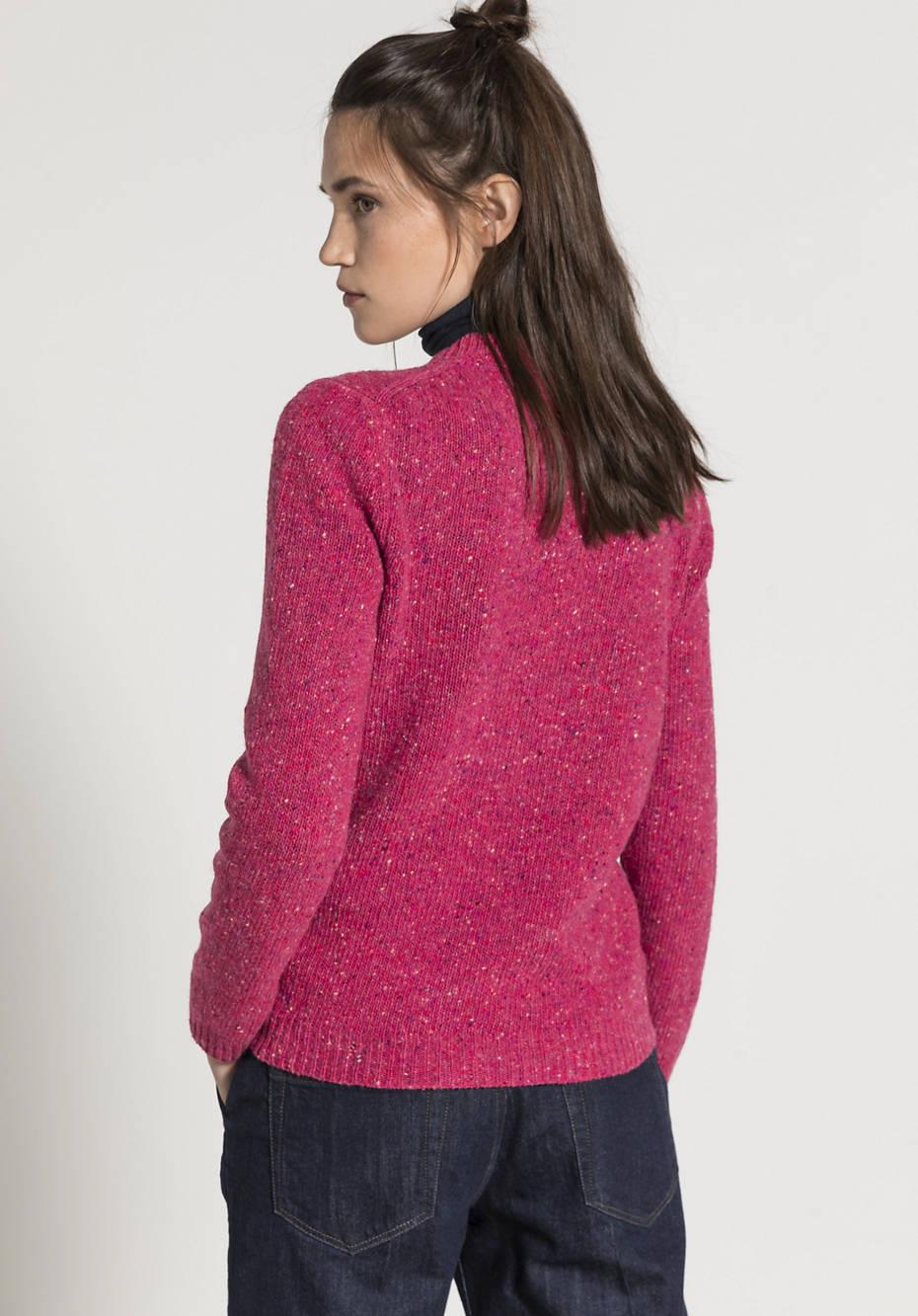 Tweed-Pullover aus reiner Schurwolle