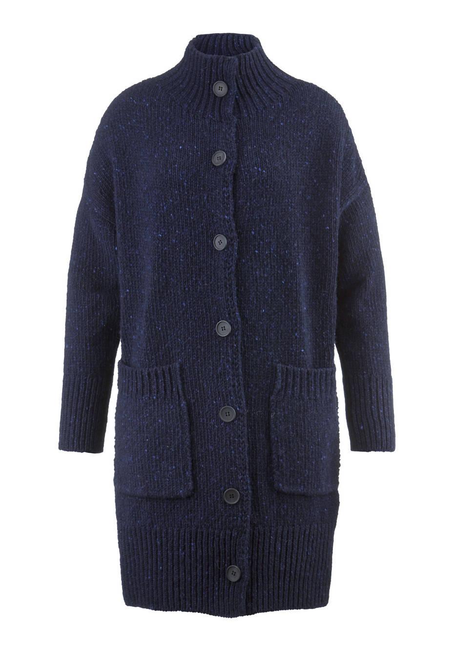 Tweed-Strickmantel aus reiner Schurwolle