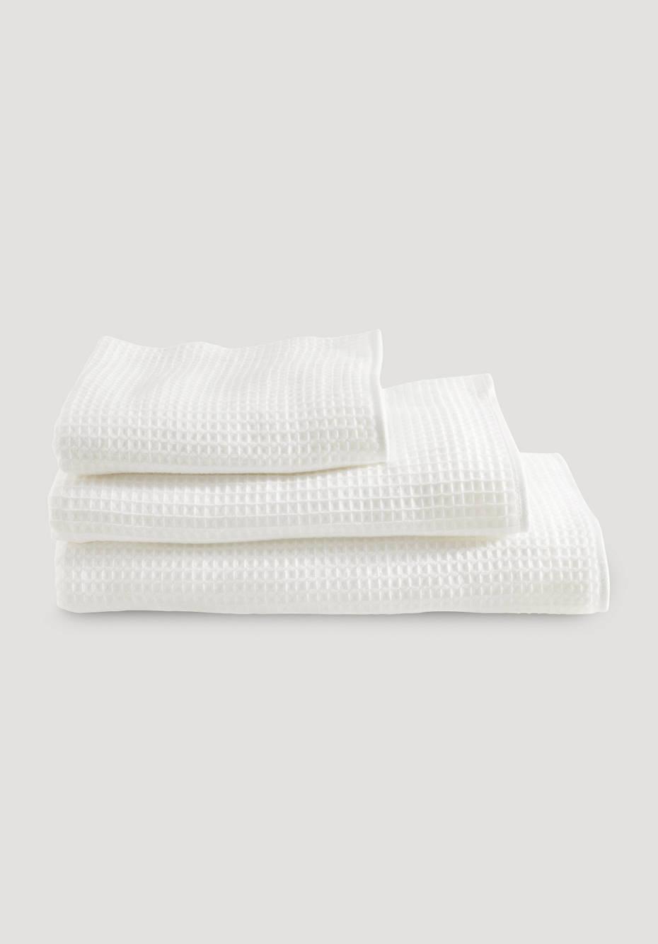 Waffelpiqué-Handtuch aus reiner Bio-Baumwolle