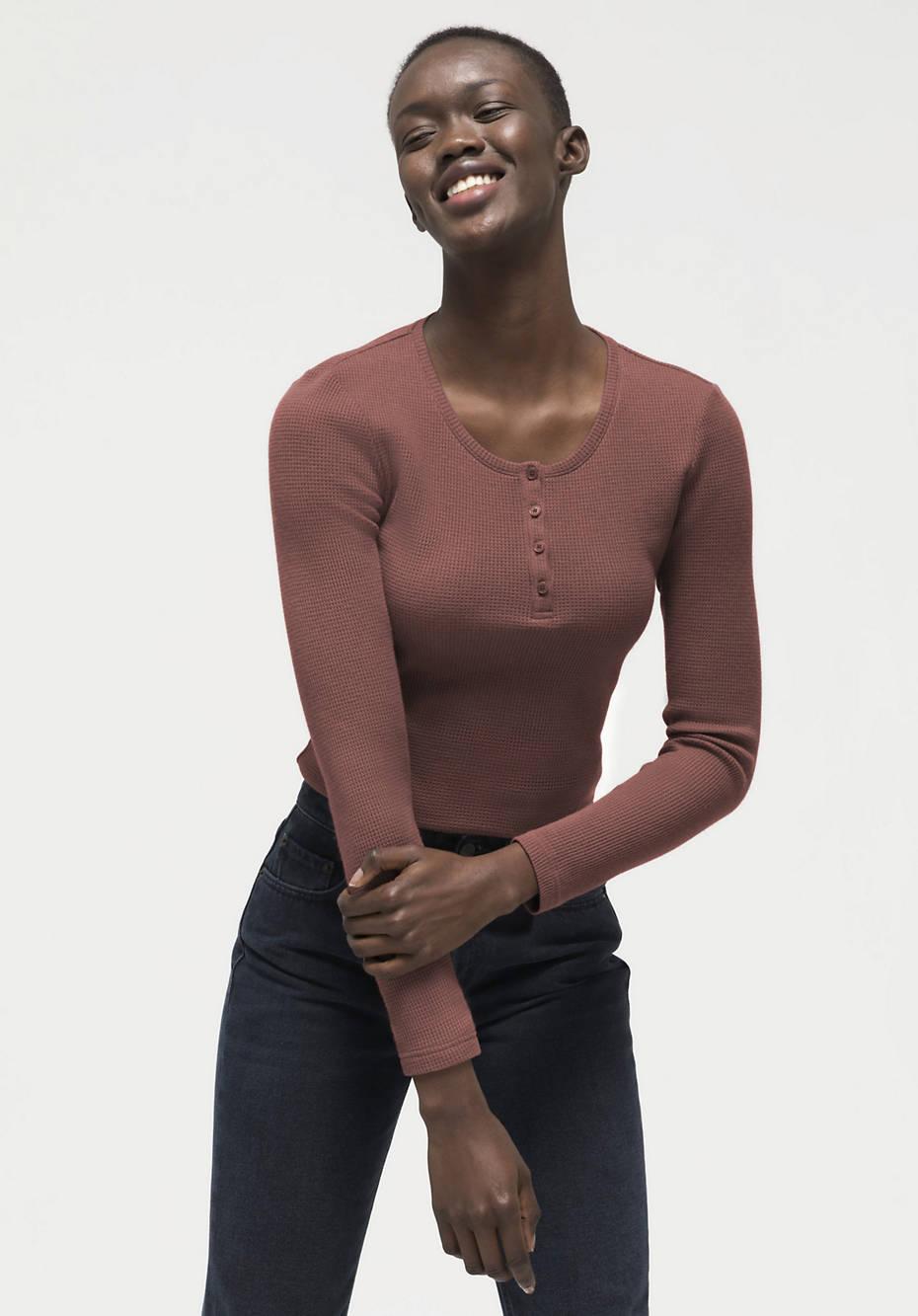 Waffelpiqué-Henleyshirt aus Bio-Baumwolle mit Schurwolle