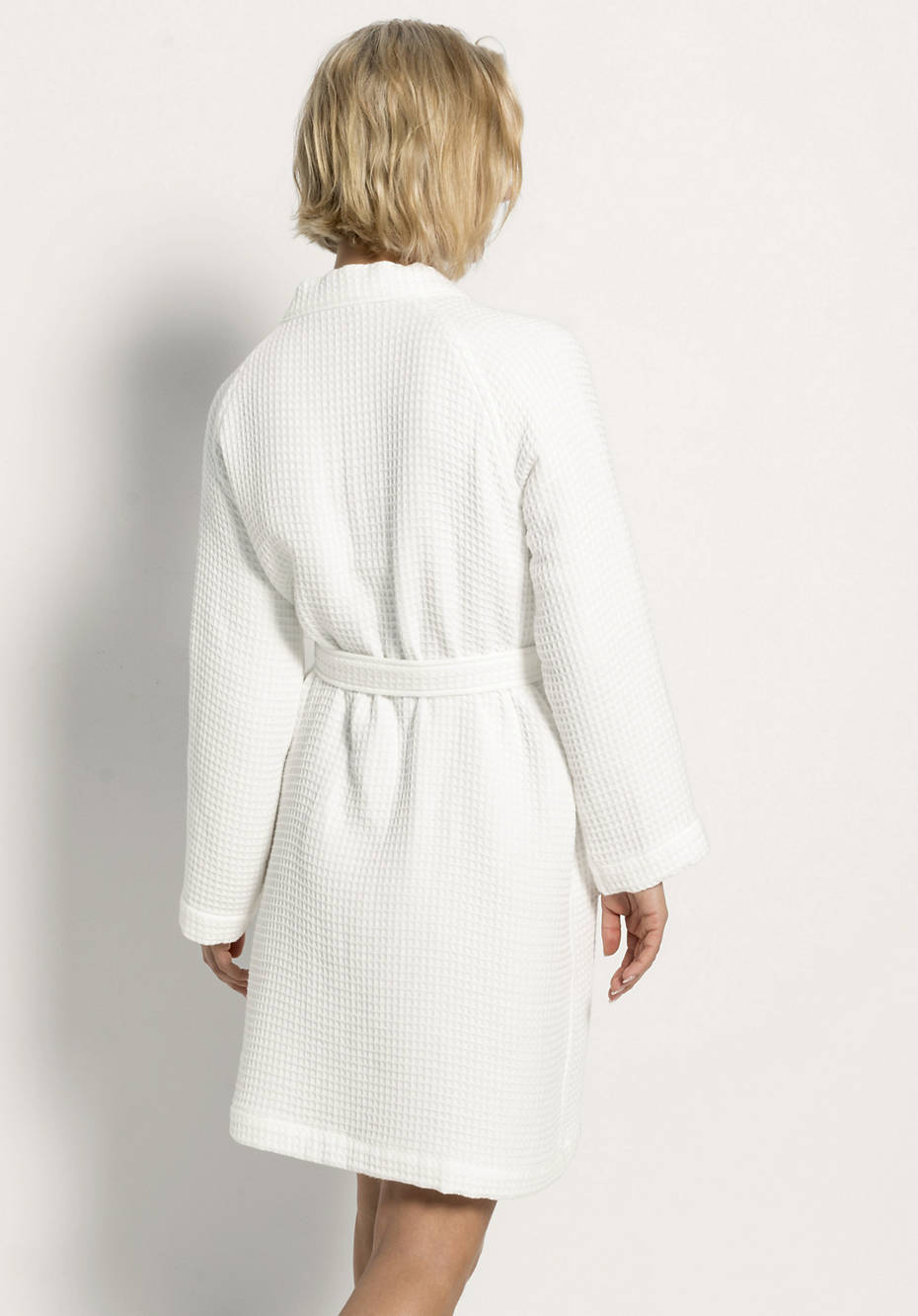 Waffle piqué bathrobe made from pure organic cotton