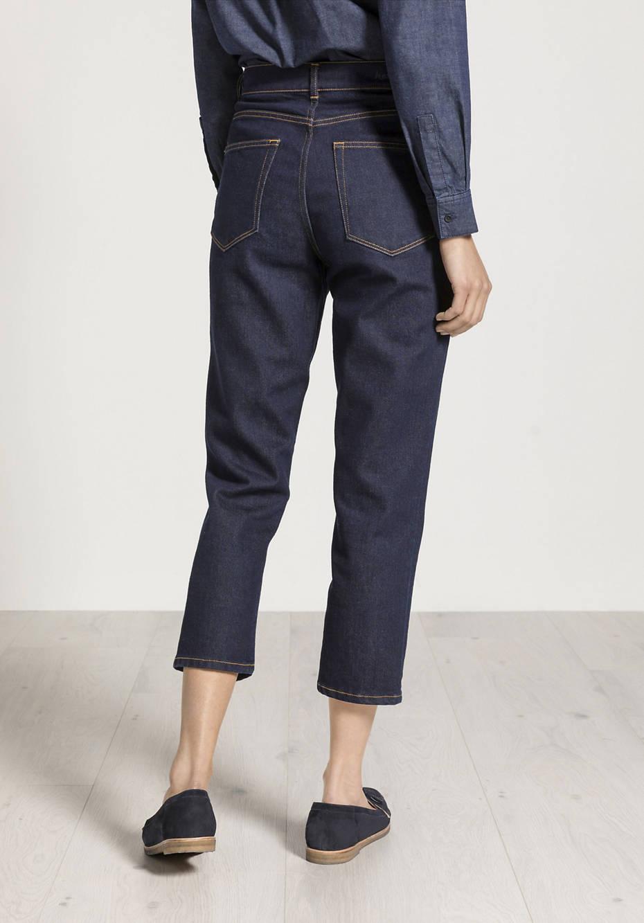 Wool denim jeans barrel leg made of organic cotton with virgin wool