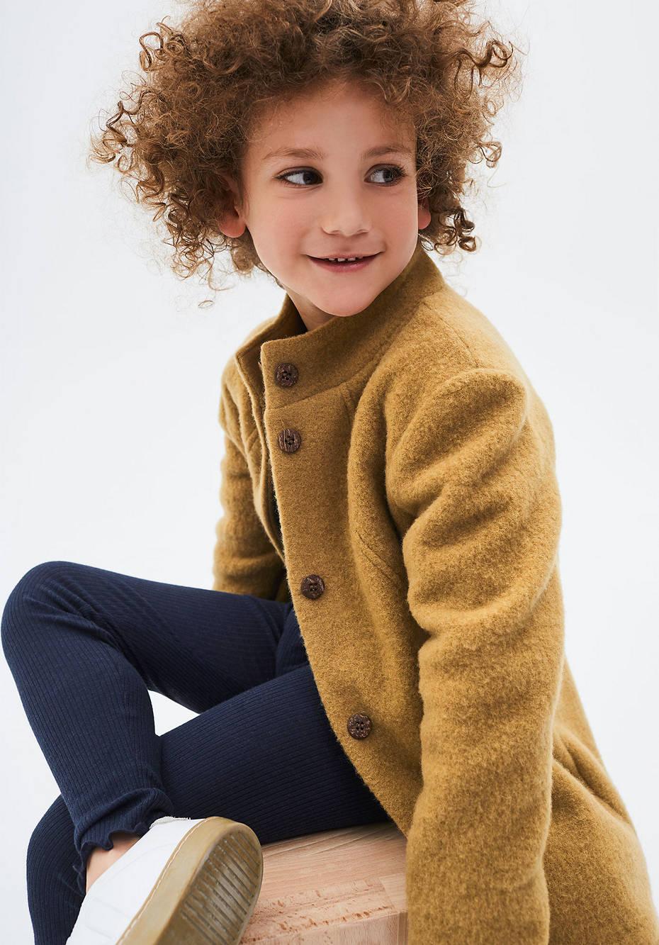 Wool fleece coat made of pure organic merino wool