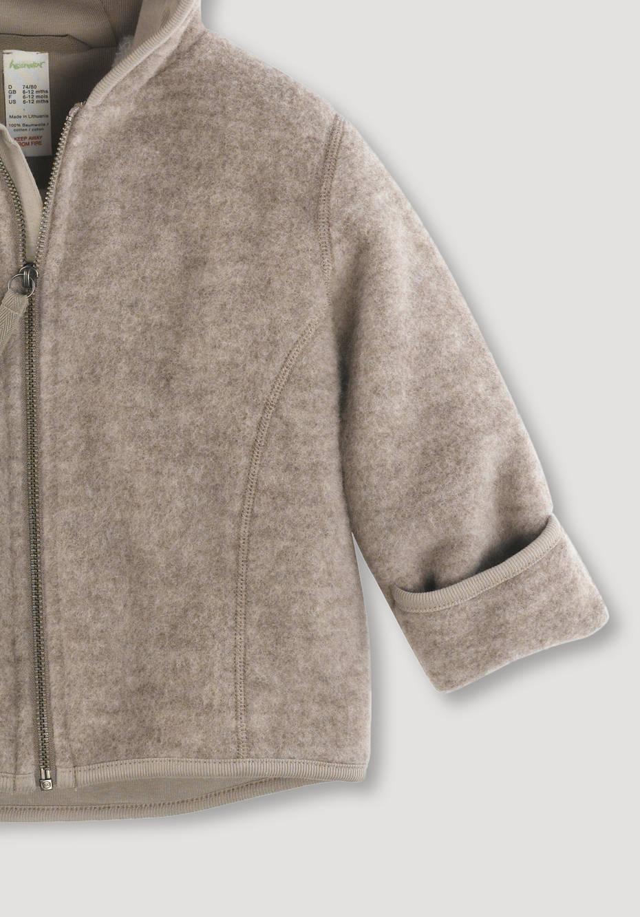 Wool fleece jacket made from pure organic merino wool