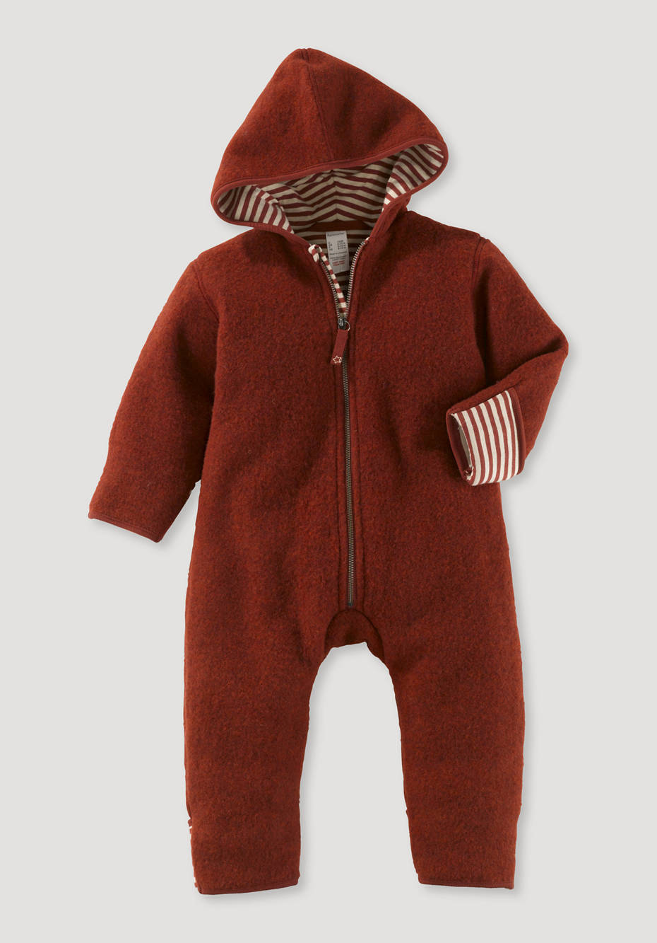 Wool fleece overall made from organic merino wool