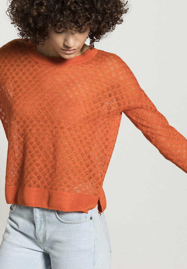 Ajour sweater made of linen with silk