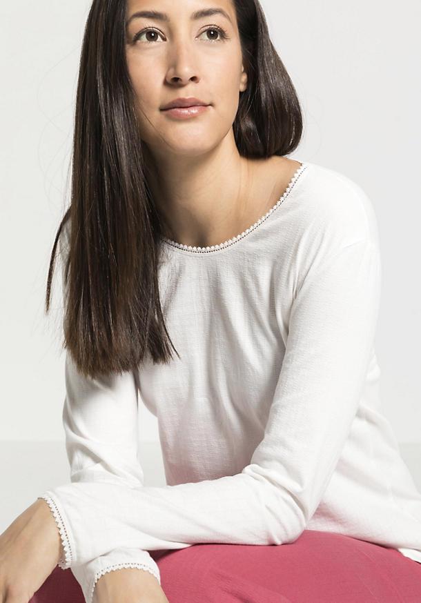Damen Ajour-Shirt Langarm aus reiner Bio-Baumwolle