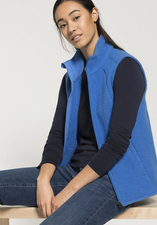 Damen Wollfleece Weste aus reiner Bio-Merinowolle