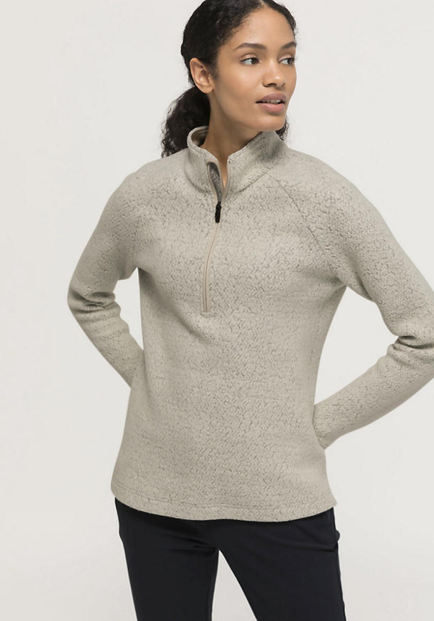 Fleece troyer made of organic merino wool with organic cotton