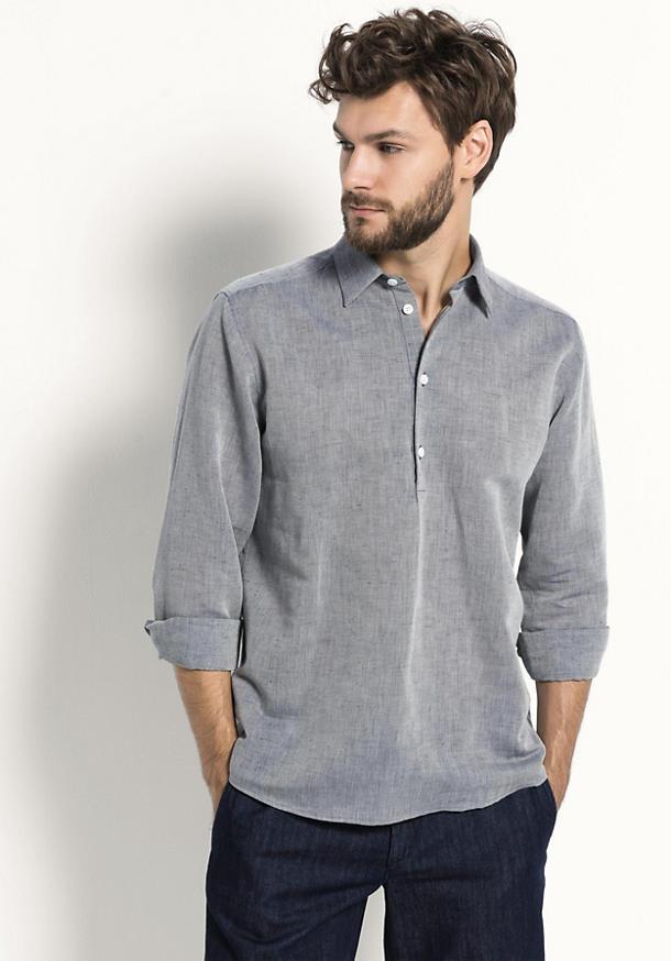 Hemd Comfort Fit aus Leinen mit Bio-Baumwolle