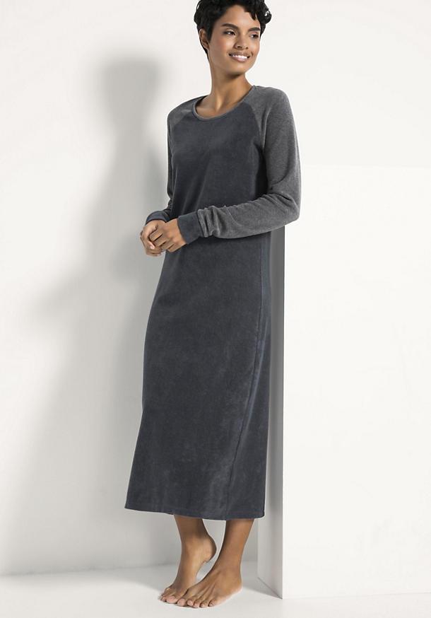 Langes Frottee-Nachthemd aus reiner Bio-Baumwolle