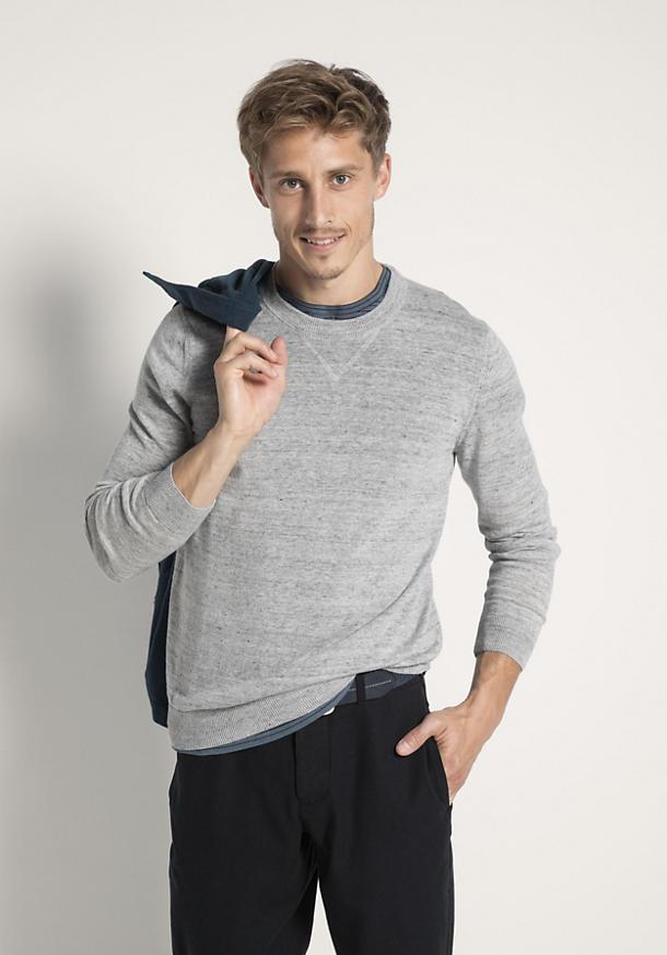 Pullover aus Leinen mit Schurwolle