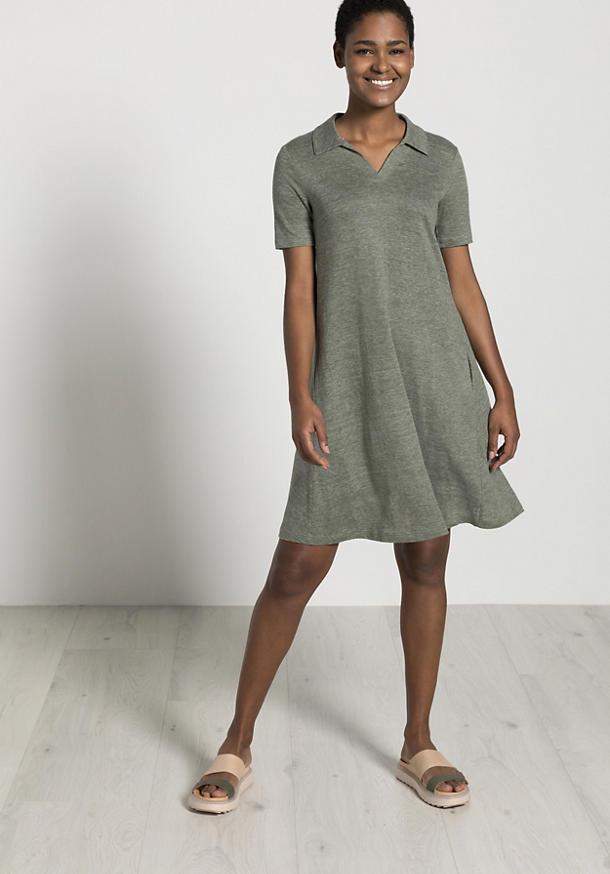 Pure linen polo dress