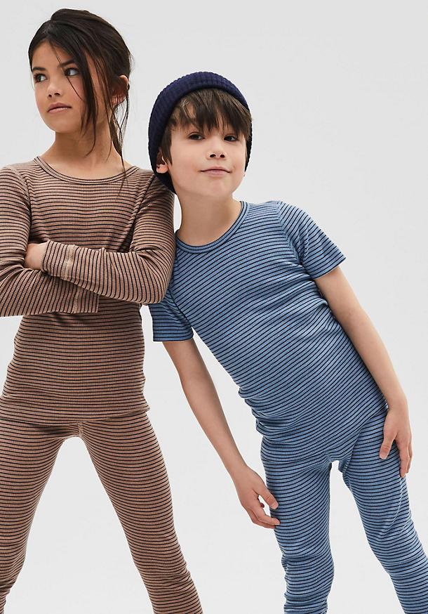 Short-sleeved shirt made of organic merino wool and silk