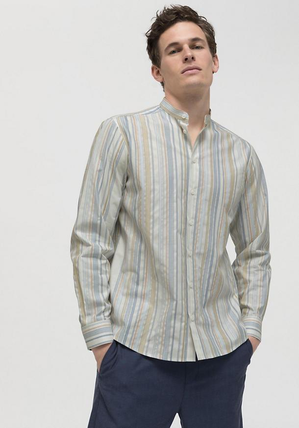 Streifen-Hemd Comfort Fit aus reiner Bio-Baumwolle