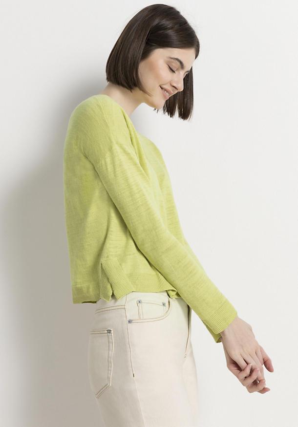 Strickjacke aus Leinen mit Bio-Baumwolle