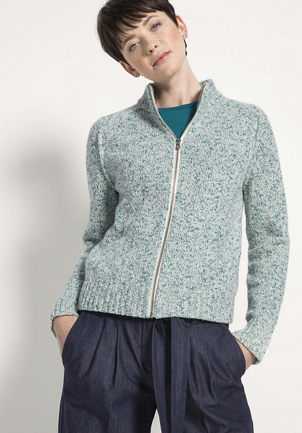 Strickjacke aus Schurwolle mit Baumwolle