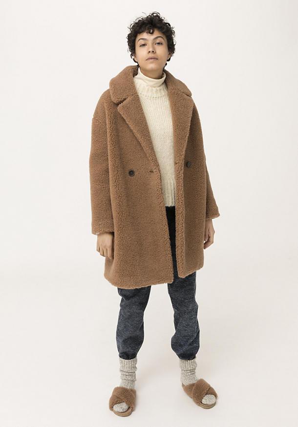 Teddy Mantel aus Schurwolle mit Bio-Baumwolle und Kamelhaar