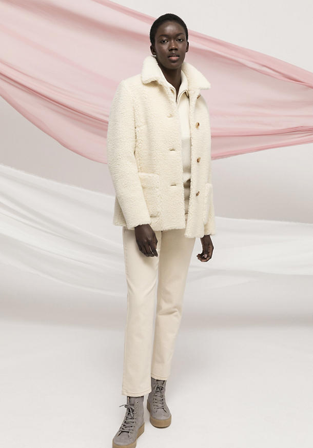 Teddy jacket made of new wool with organic cotton