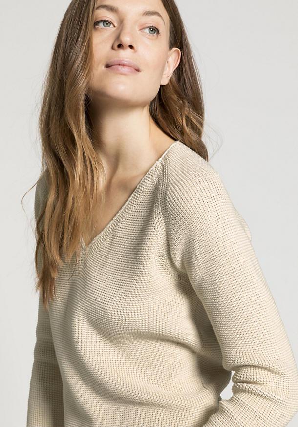 V-Pullover aus reiner Bio-Baumwolle