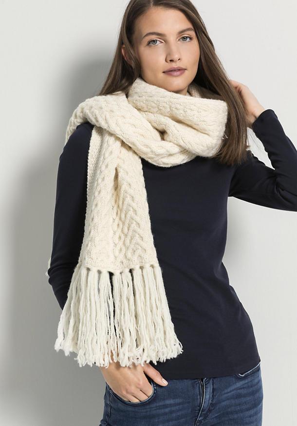Zopfmuster-Schal aus reiner Schurwolle